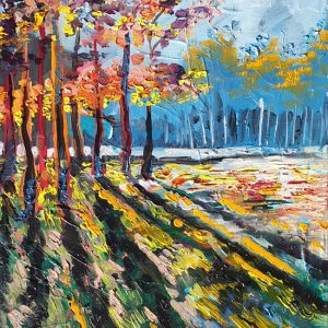trees with mottled sunlight through them with shadows on the grass on the edge of a forest Lillian Gray oil painting