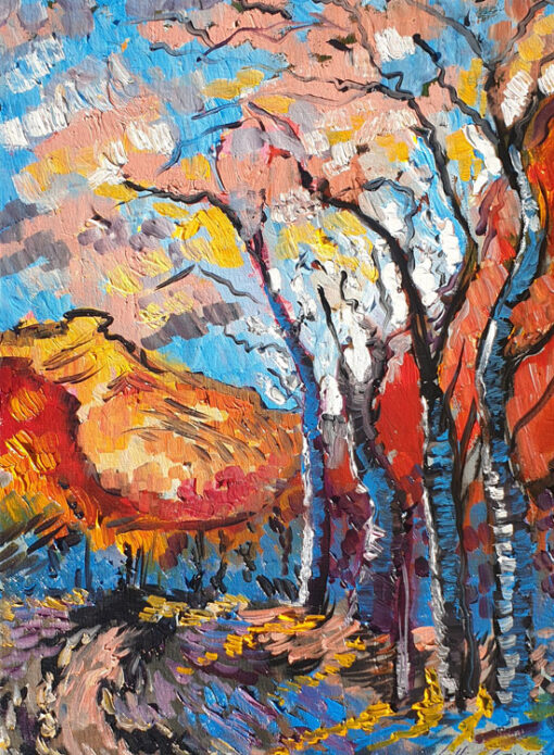 trees standing before a red mountain Lillian Gray oil painting