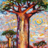 Large baobab tree with a subtle sunset in the background oil painting by Lillian Gray