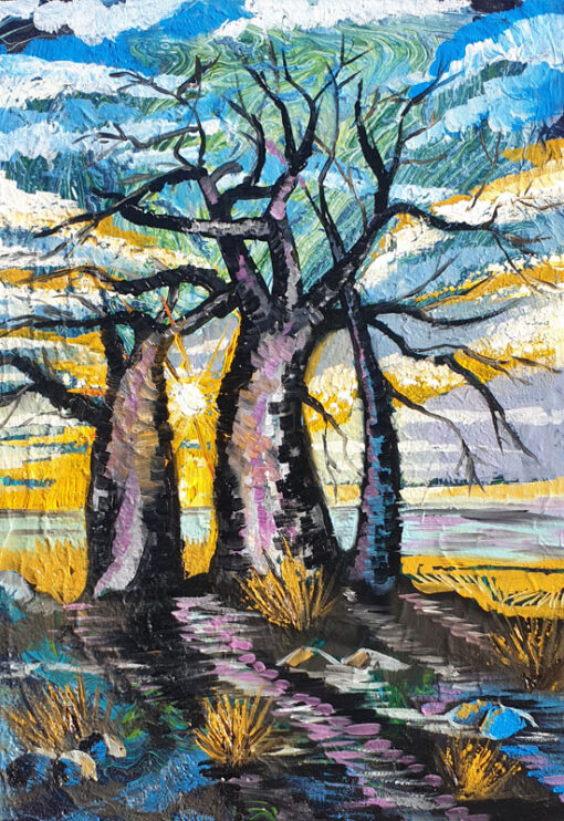 Three silhouettes of baobab trees on a hill oil painting by Lillian Gray