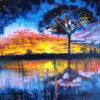 Sunset between the reeds