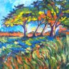 Orange trees casting blue sadows landscape painting by artist Lillian Gray