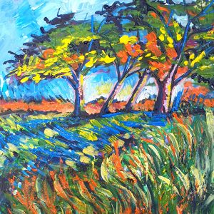Orange trees casting blue sadows landscape painting by artist Lillian Gray